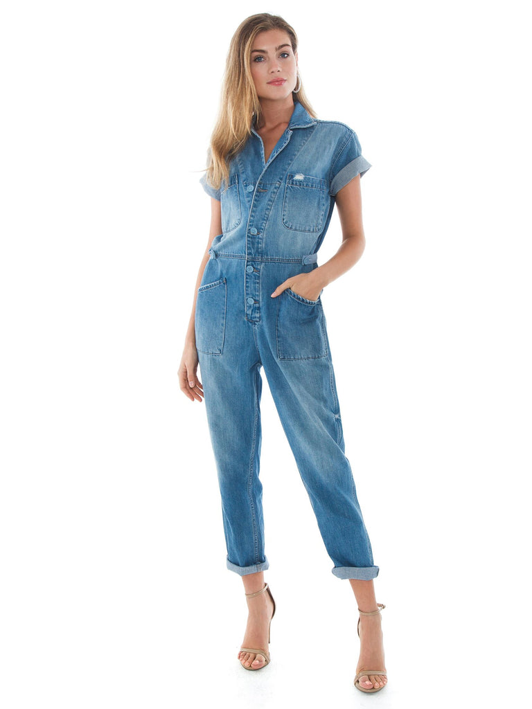 Girl wearing a jumpsuit rental from PISTOLA called Brando Puff Denim Jacket