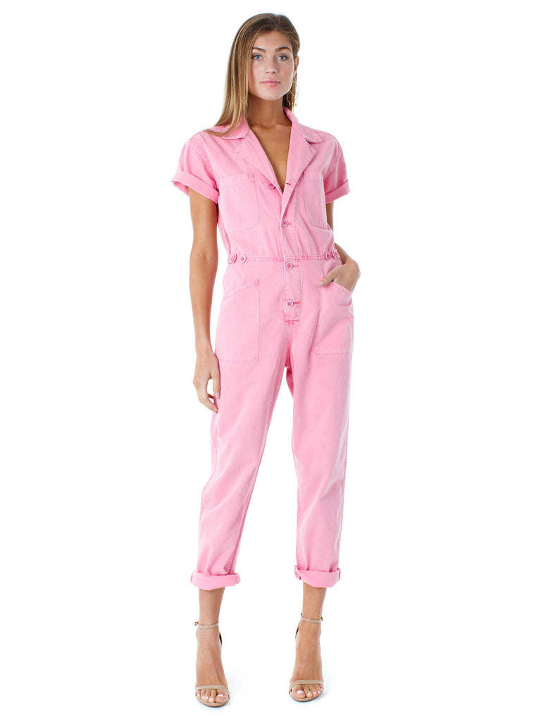 Women wearing a jumpsuit rental from PISTOLA called Mahi Drawstring Top
