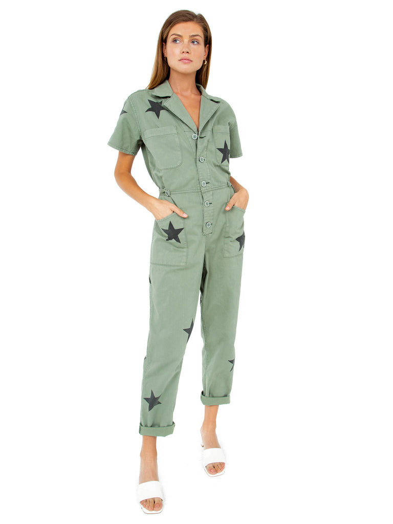 Women outfit in a jumpsuit rental from PISTOLA called Cara High Rise Vintage Skinny