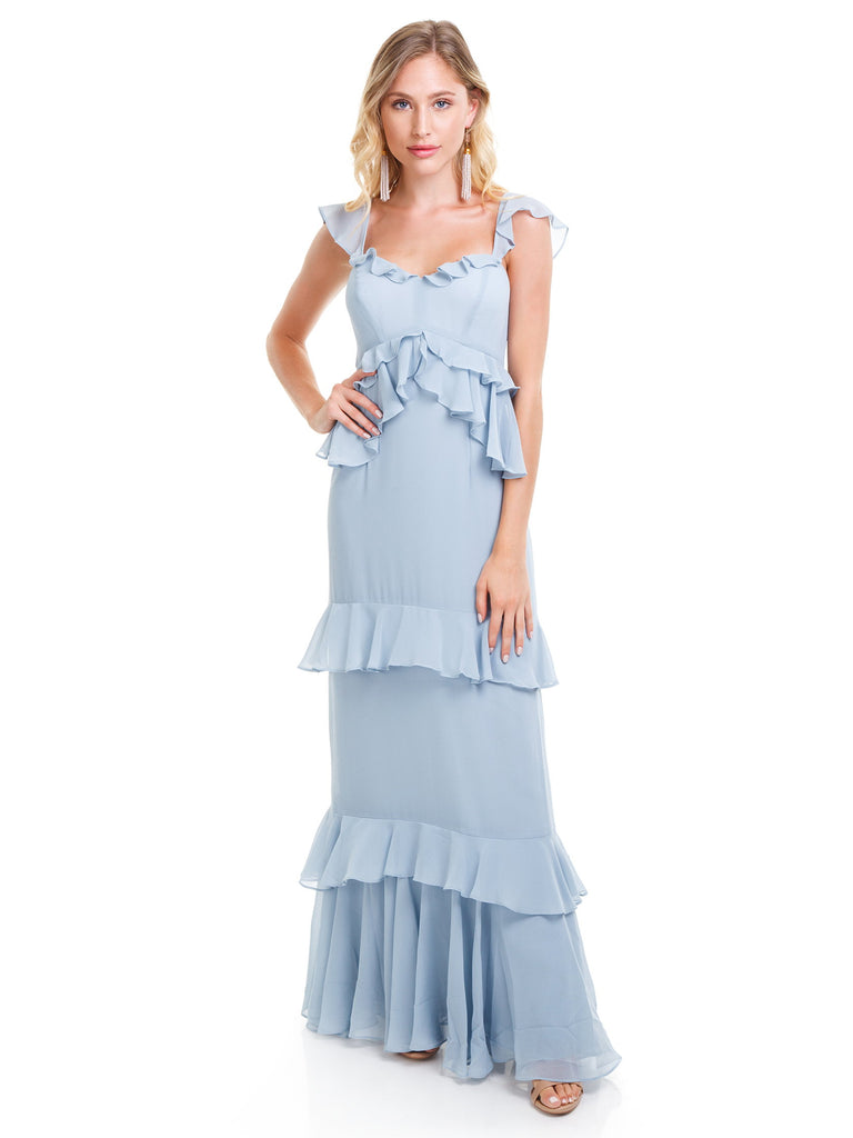 Girl wearing a dress rental from WAYF called Danielle Off Shoulder Tiered Ruffle Maxi Dress
