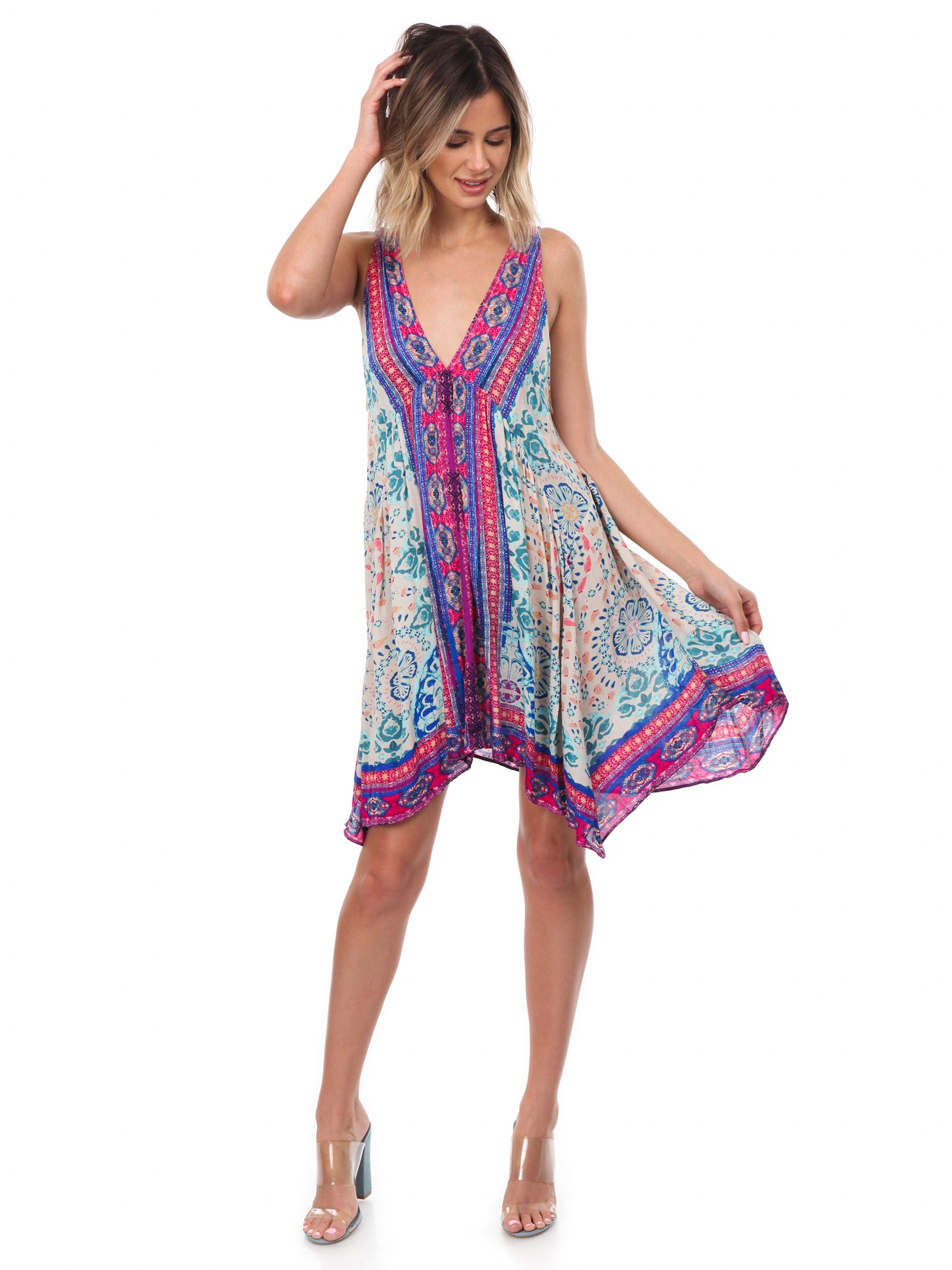 aecca0225626c Women outfit in a dress rental from Free People called Gypsy Trapeze Dress