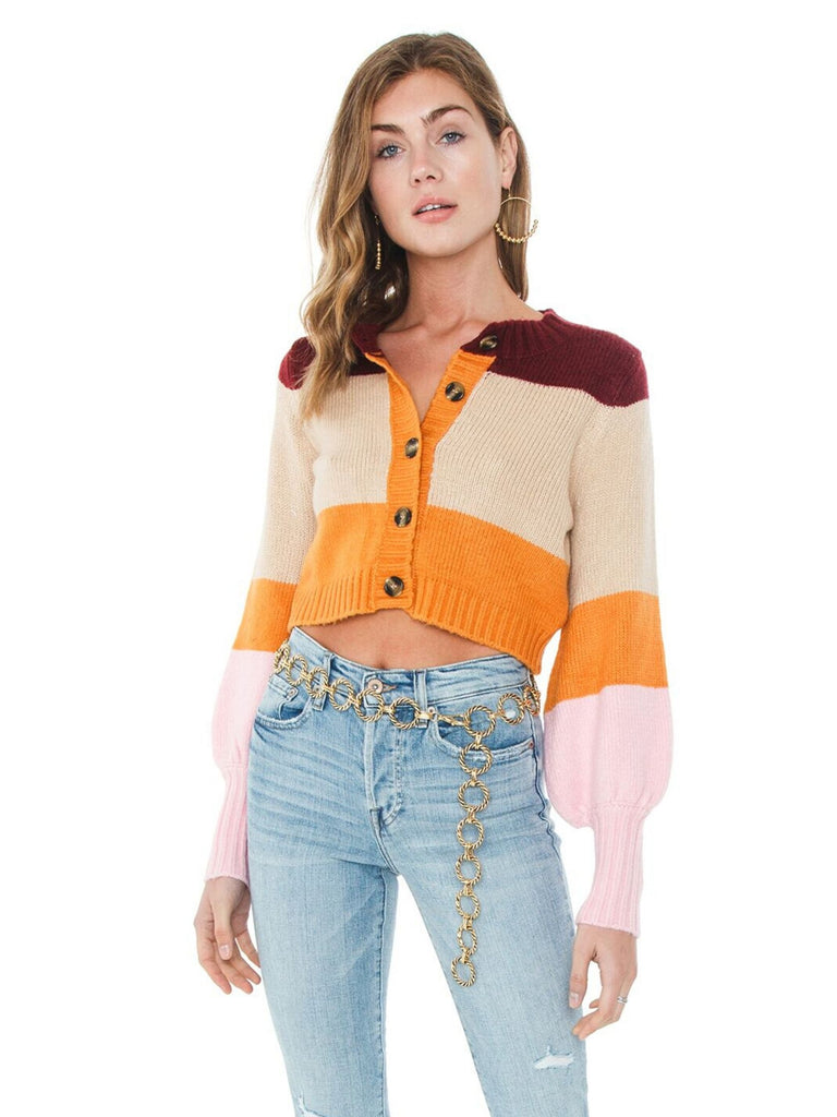 Women wearing a sweater rental from For Love & Lemons called Hailey Striped Cardigan