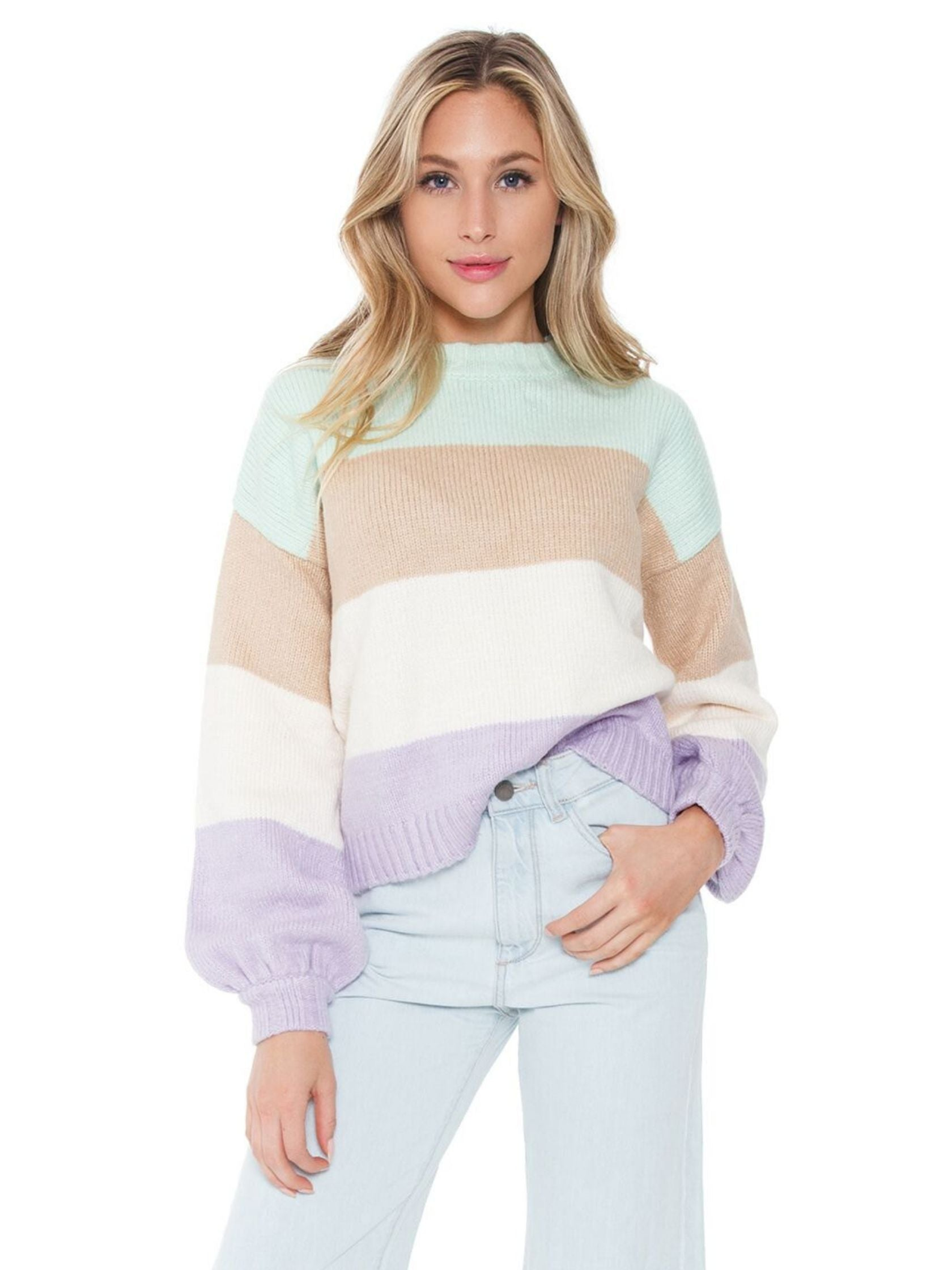Woman wearing a sweater rental from For Love & Lemons called Hailey Striped Sweater