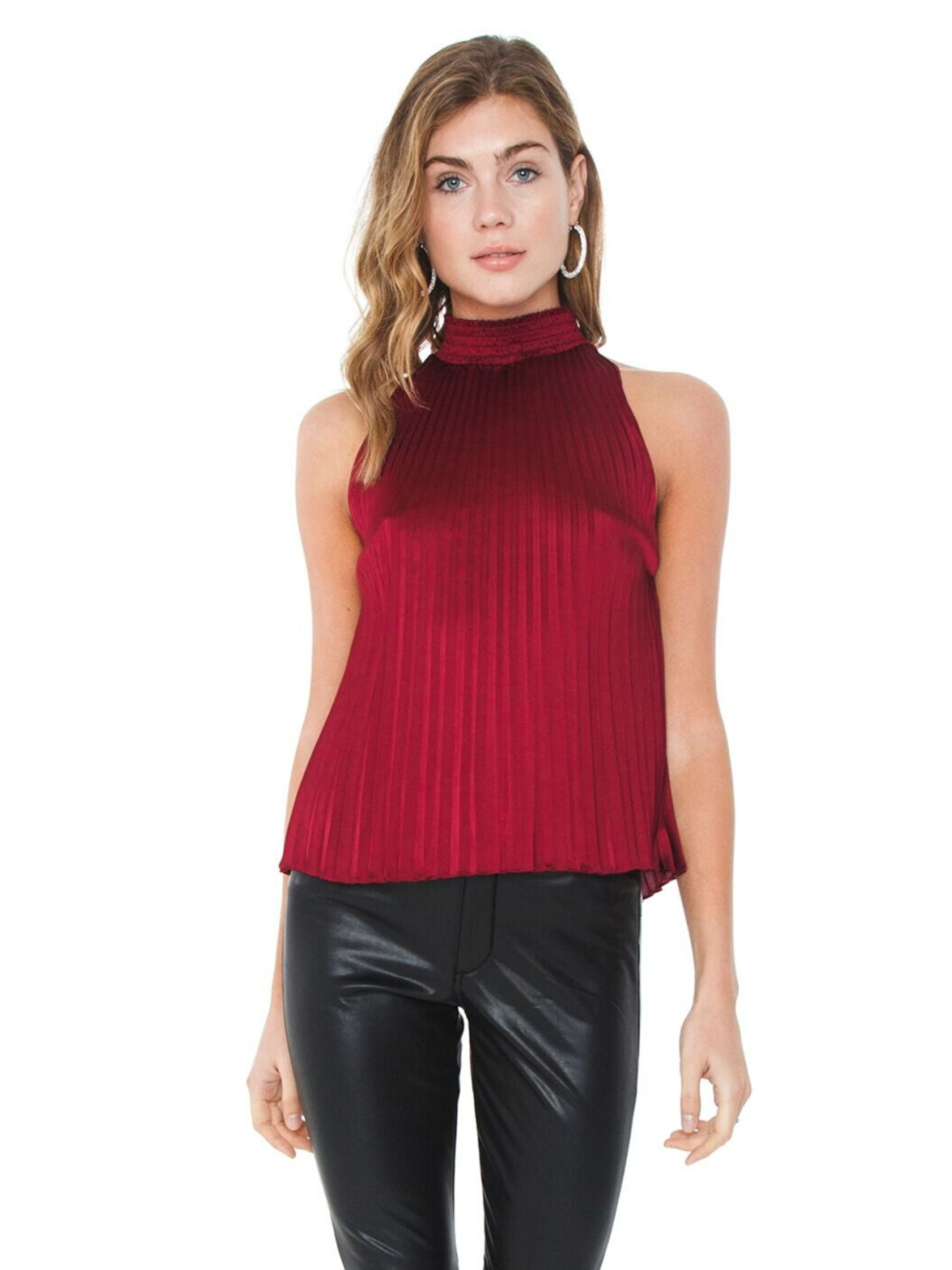 Woman wearing a top rental from 1.STATE called Halter Neckline Pleated Charmeuse Blouse
