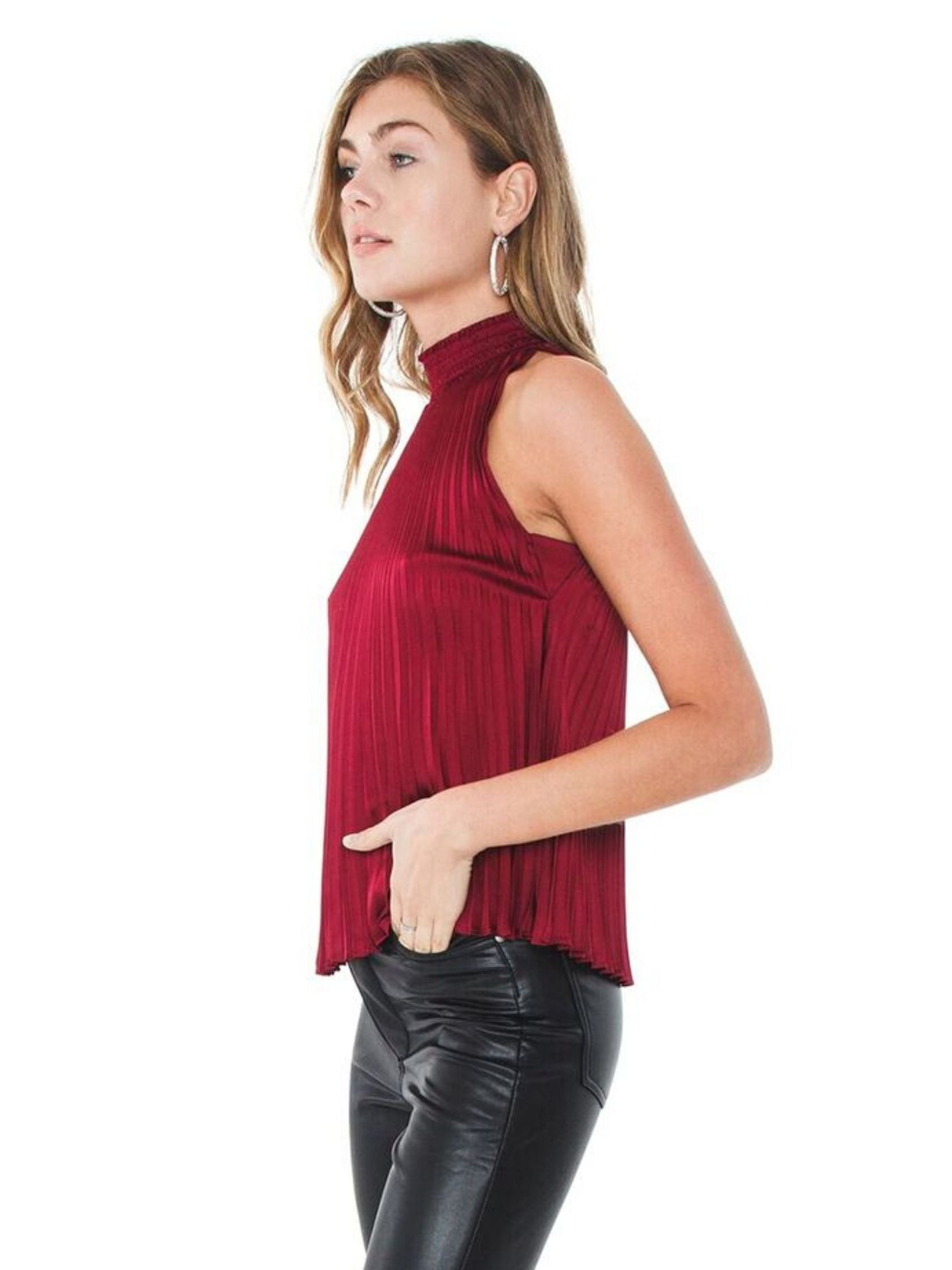 Women wearing a top rental from 1.STATE called Halter Neckline Pleated Charmeuse Blouse
