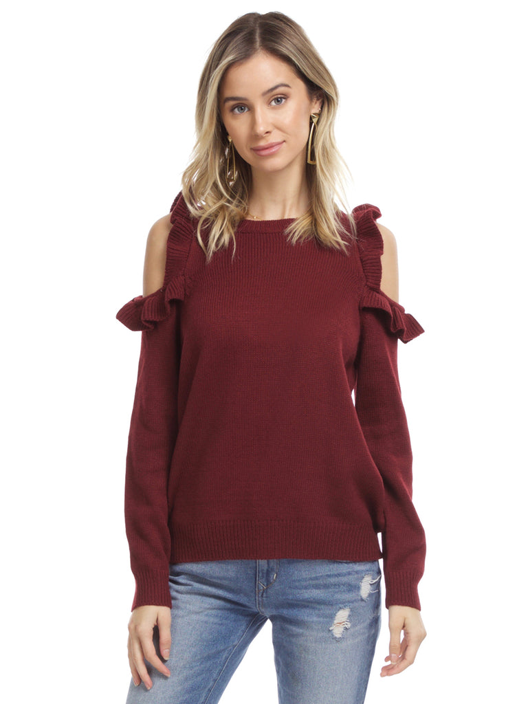 Women wearing a sweater rental from FashionPass called Sunrise Crop Top