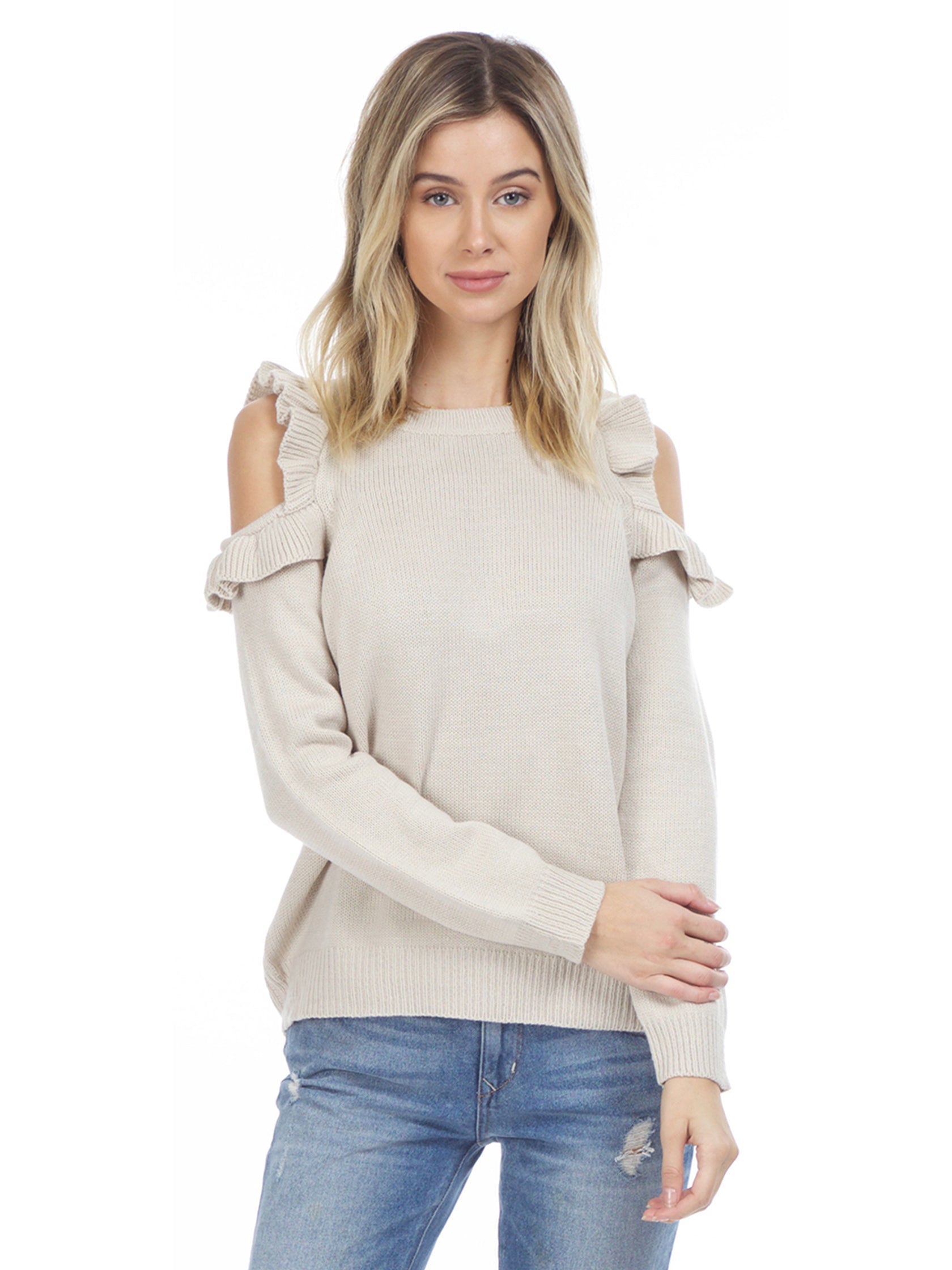 Woman wearing a sweater rental from FashionPass called Harmony Cold Shoulder Sweater