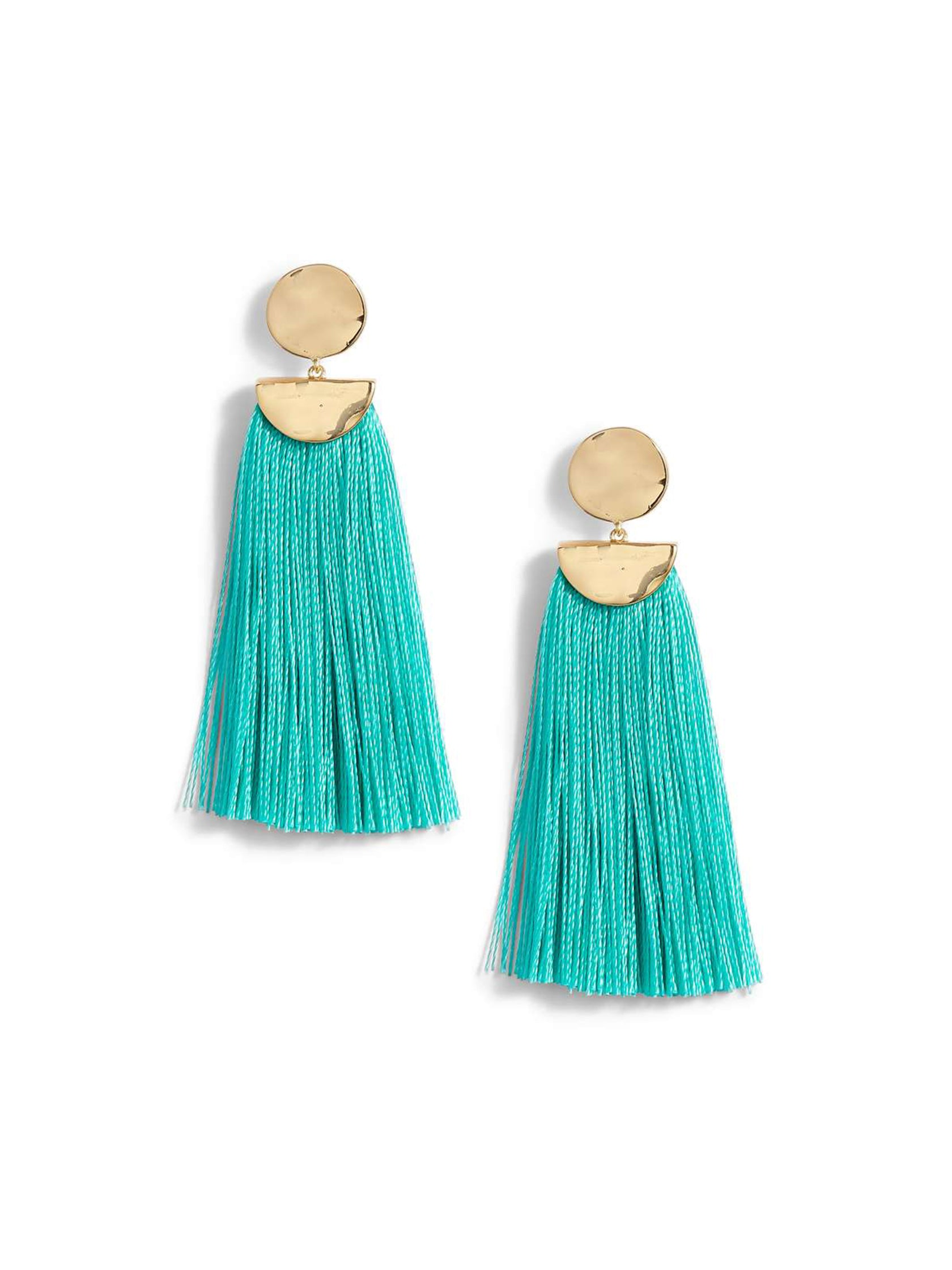 Girl wearing a earrings rental from Gorjana called Havana Circle Tassel Earrings