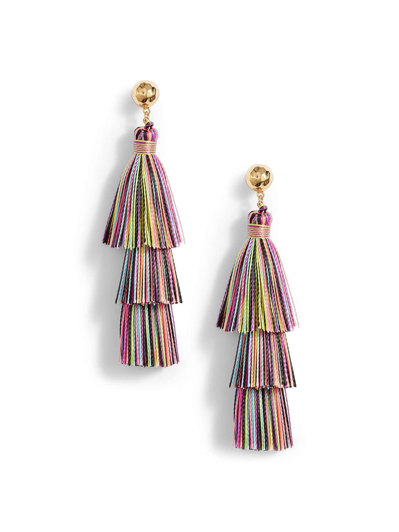 Girl wearing a earrings rental from Gorjana called Havana Tassel Earrings