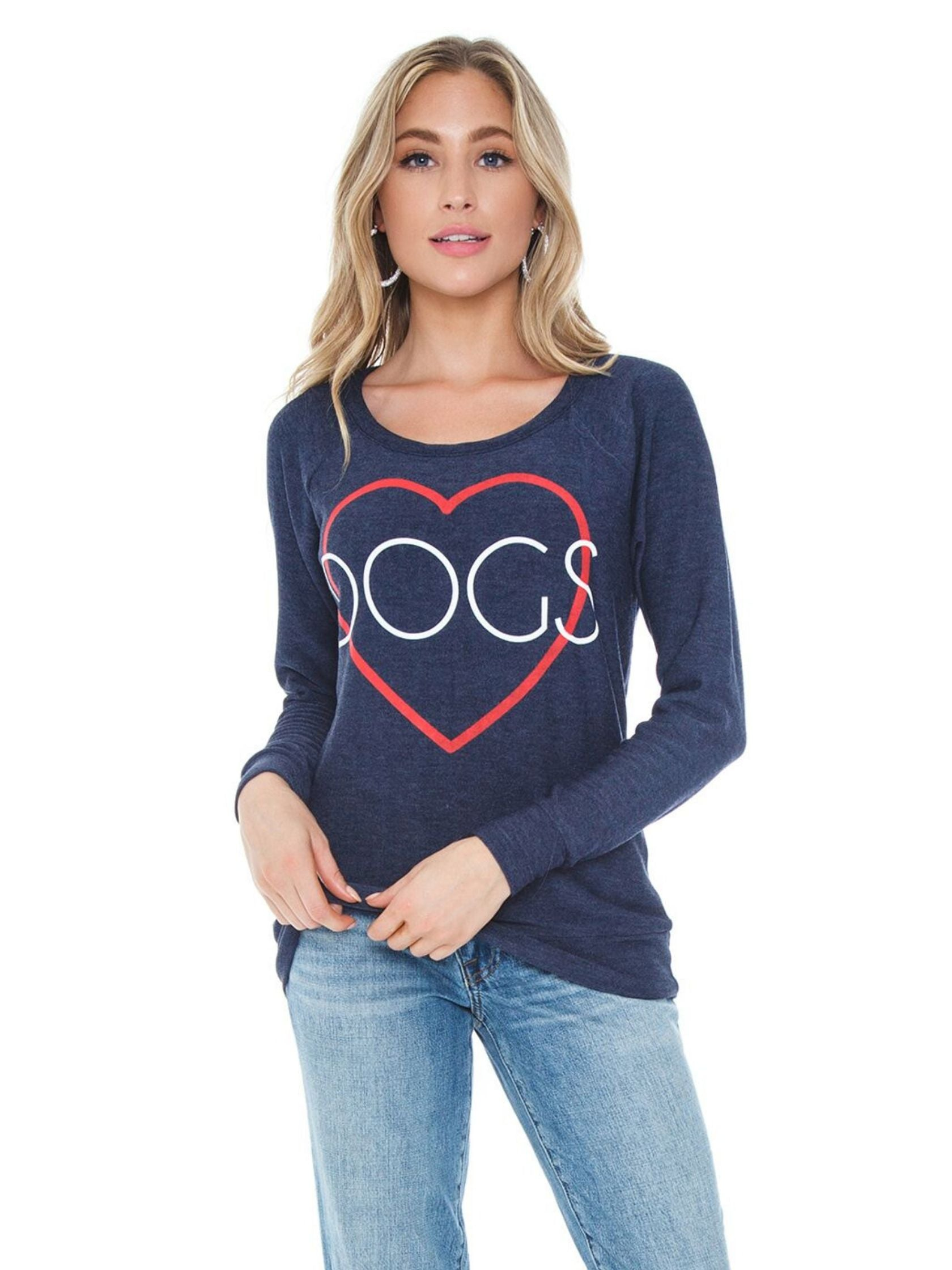 Woman wearing a top rental from Chaser called Heart Dogs Shirt