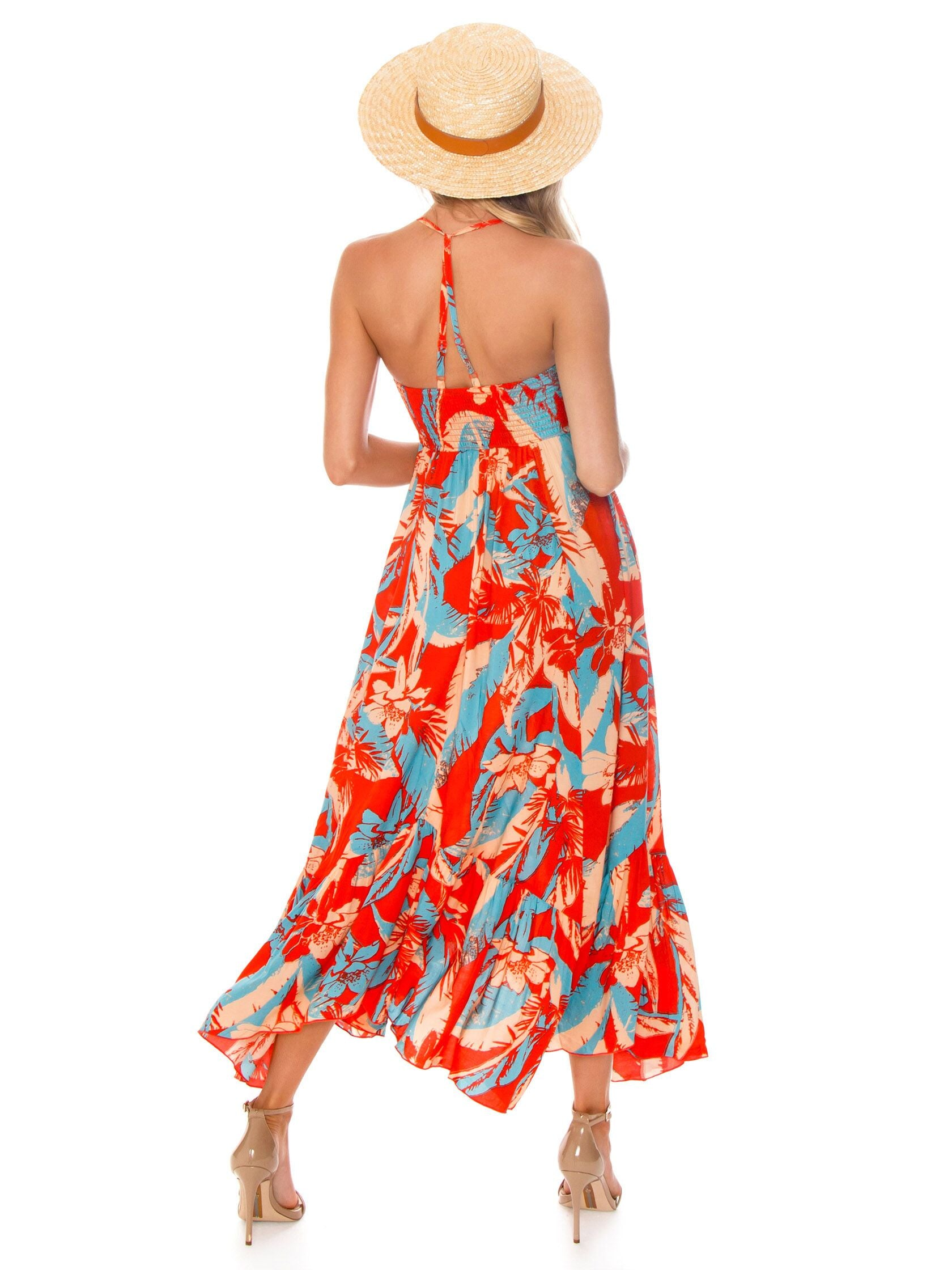 Women wearing a dress rental from Free People called Heat Wave Printed Maxi