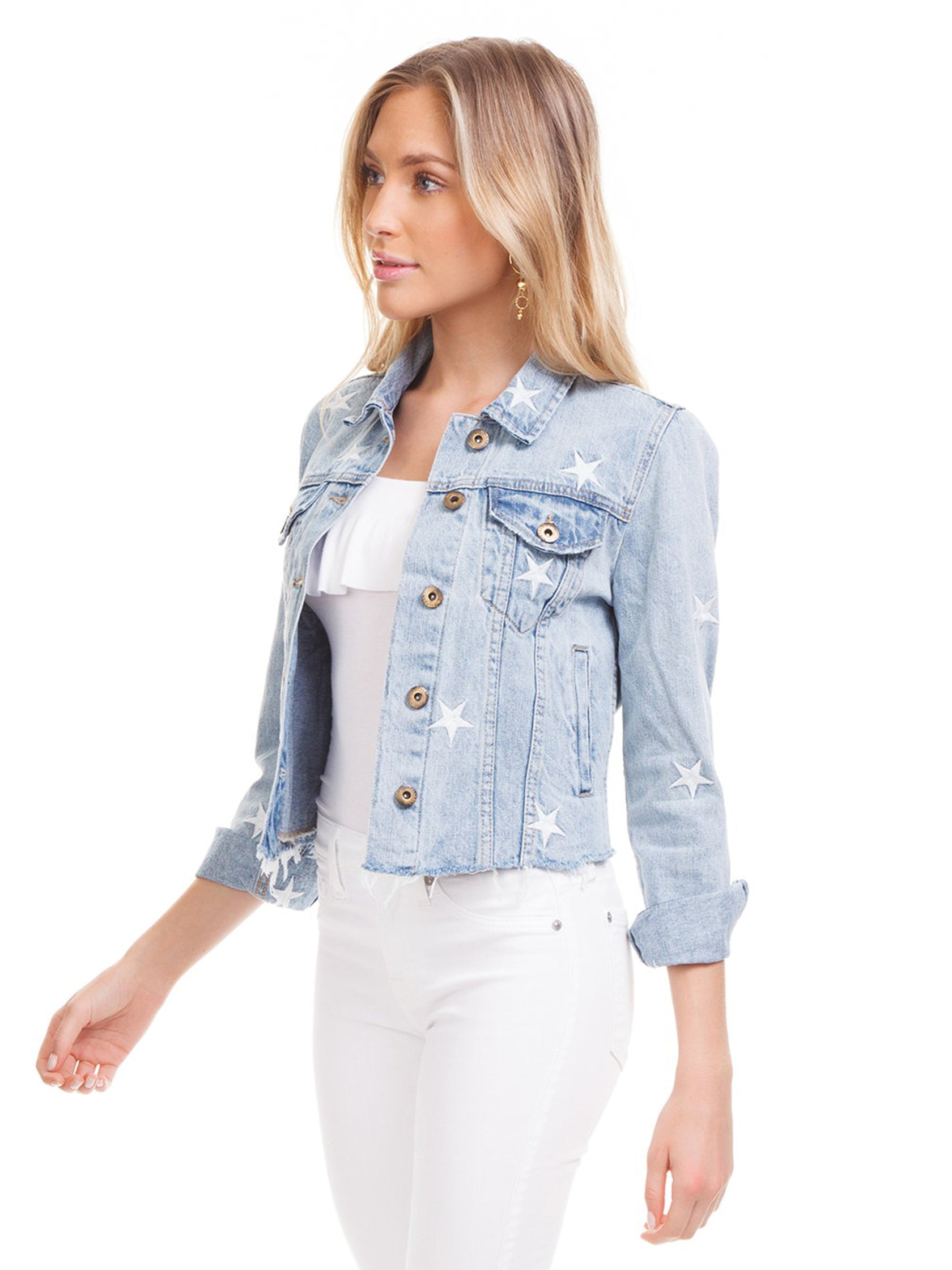 Women outfit in a jacket rental from PISTOLA called Heavenly Body Embroidered Light Wash Denim Jacket