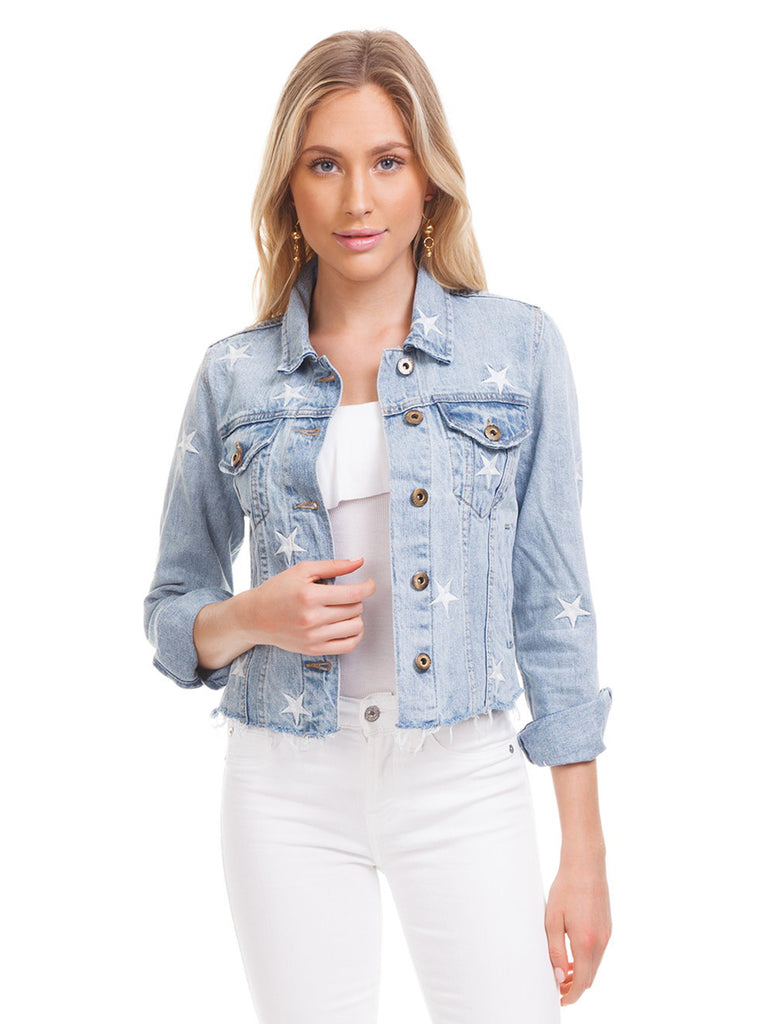 Women wearing a jacket rental from PISTOLA called Heavenly Body Embroidered Light Wash Denim Jacket