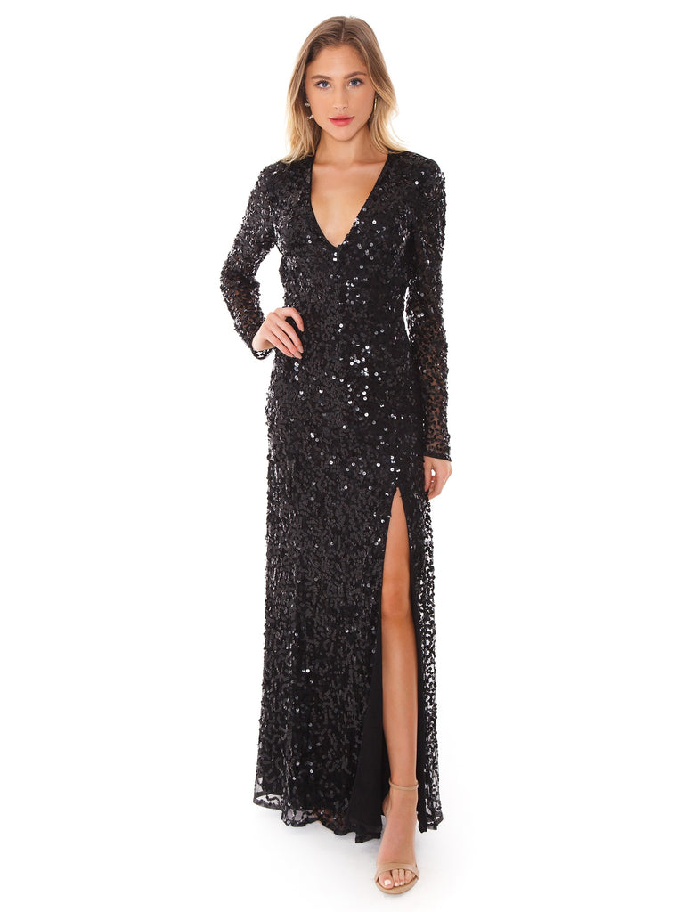 Women wearing a dress rental from French Connection called Helena Sparkle V-neck Maxi Dress