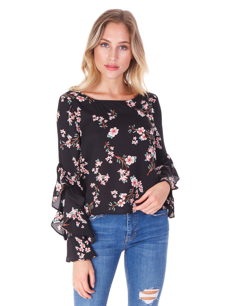 Women wearing a top rental from BB Dakota called V-neck Ruffle Sleeve Top