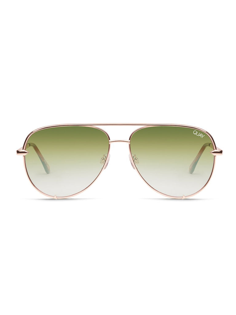 Woman wearing a sunglasses rental from Quay Australia called Ezra Bralette