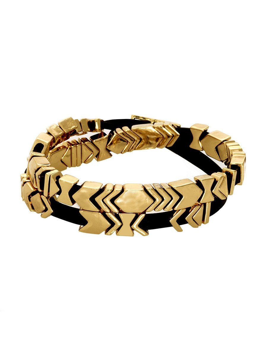 Woman wearing a bracelet rental from House of Harlow 1960 called Aztec Wrap Bracelet