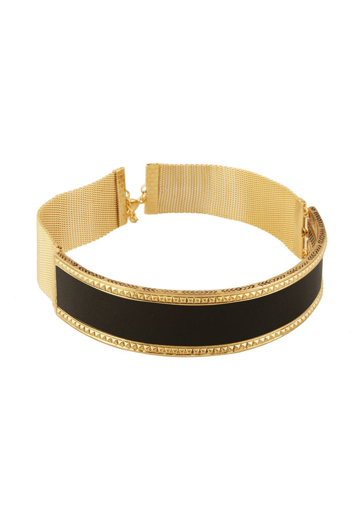 Women wearing a choker rental from House of Harlow 1960 called Black Helicon Choker Necklace
