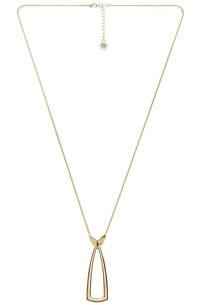 Women wearing a necklace rental from House of Harlow 1960 called Mesa Door Knocker Pendant Necklace