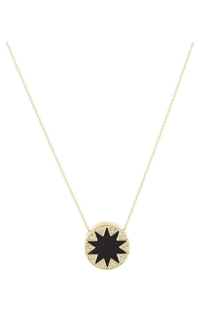 Women outfit in a necklace rental from House of Harlow 1960 called Mini Pave Sunburst Necklace