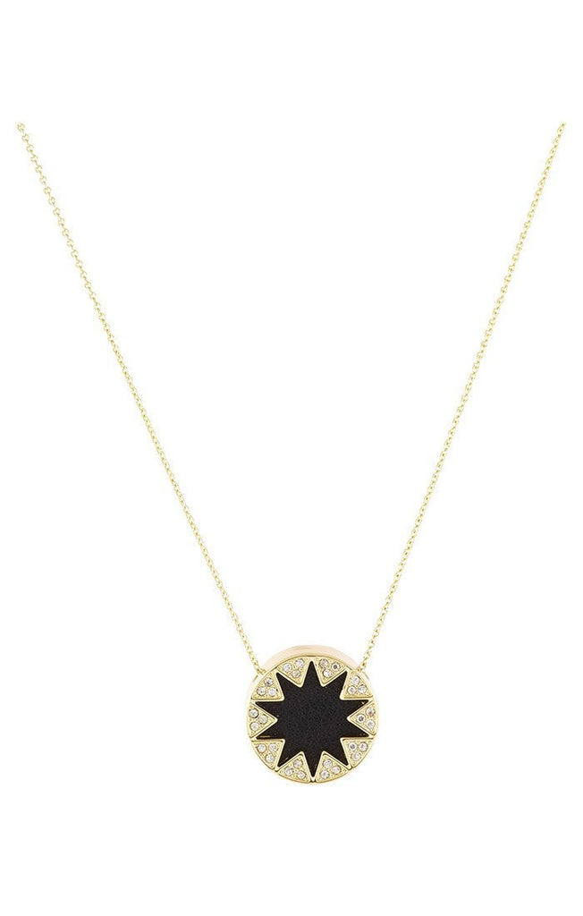 Women wearing a necklace rental from House of Harlow 1960 called Mini Pave Sunburst Necklace