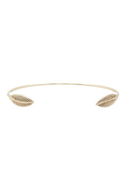 Women wearing a bracelet rental from House of Harlow 1960 called Sacred Leaf Cuff