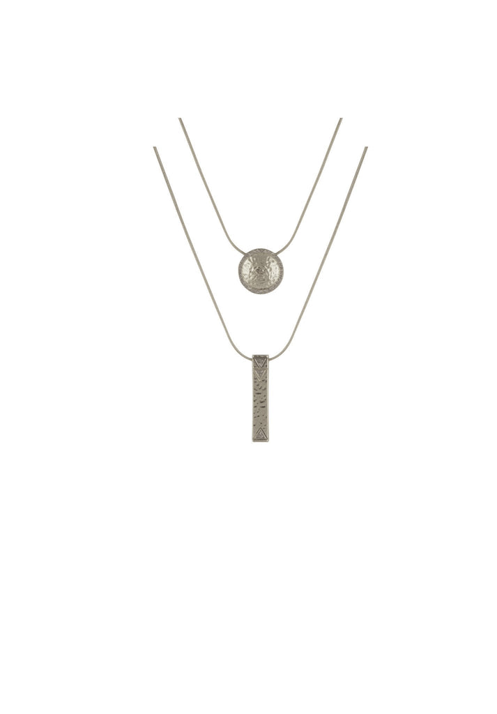 Women wearing a necklace rental from House of Harlow 1960 called Silver Scutum Double Pendant Necklace