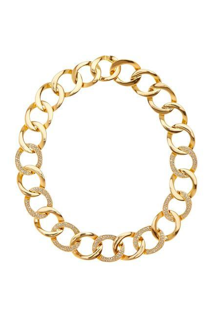Women wearing a necklace rental from House of Harlow 1960 called The Ra Chain Necklace