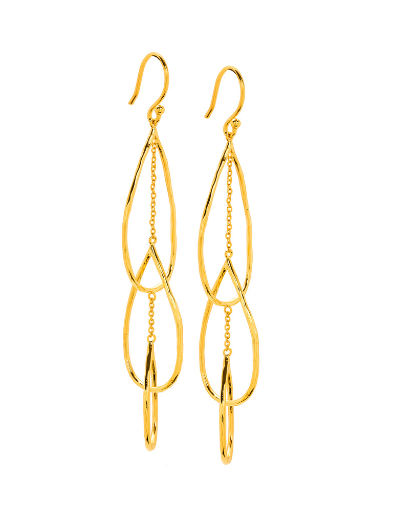 Women wearing a earrings rental from Gorjana called Interlocking Tear Drop Earrings