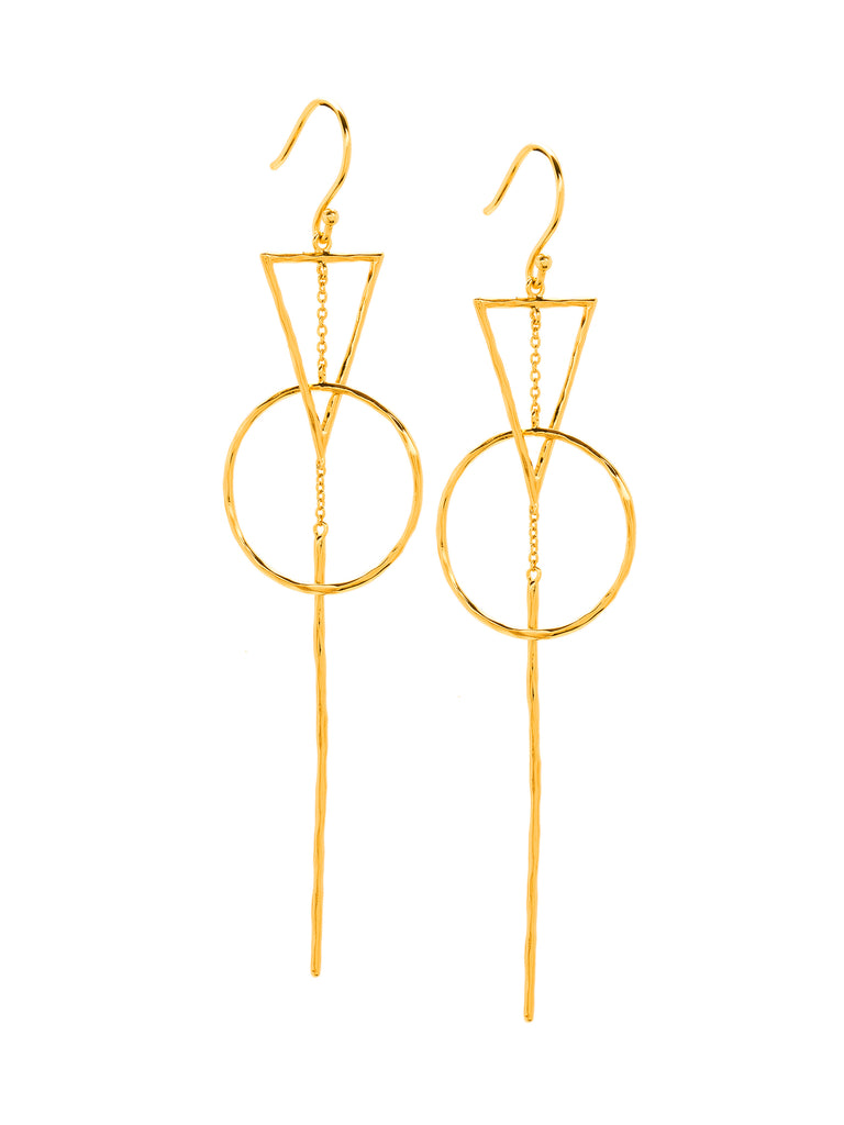 Women wearing a earrings rental from Gorjana called Interlocking Triangle Drop Earrings