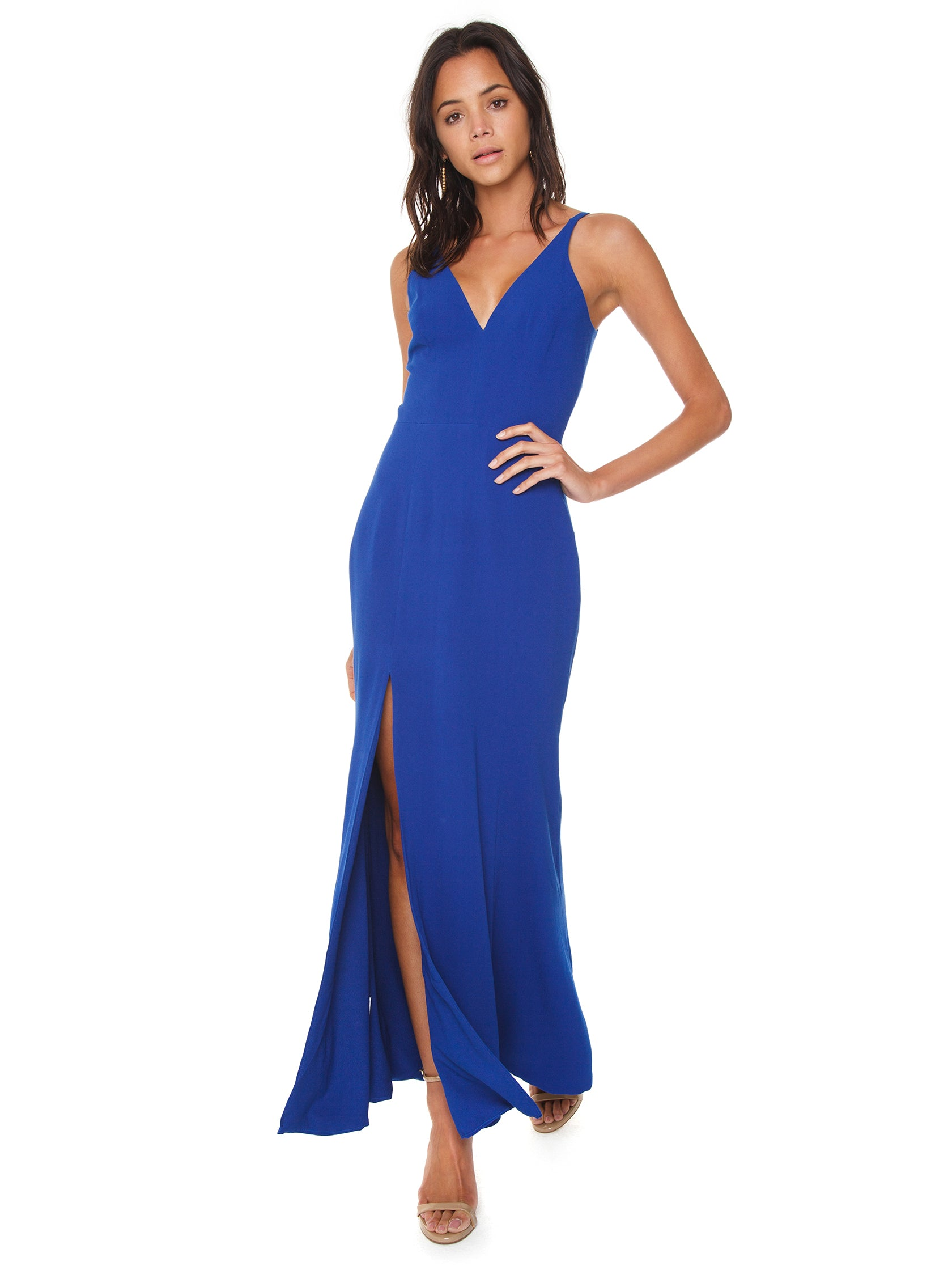 Girl outfit in a dress rental from Dress the Population called Iris Crepe Side Slit Gown