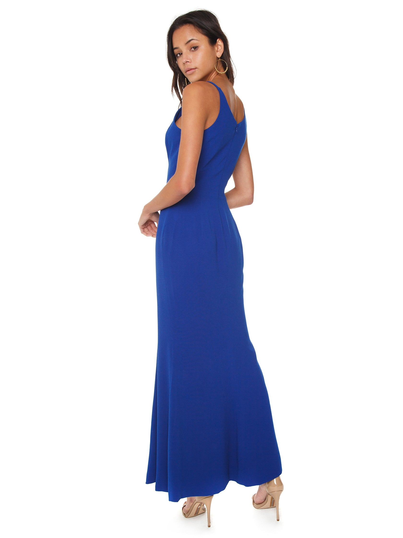 Women wearing a dress rental from Dress the Population called Iris Crepe Side Slit Gown