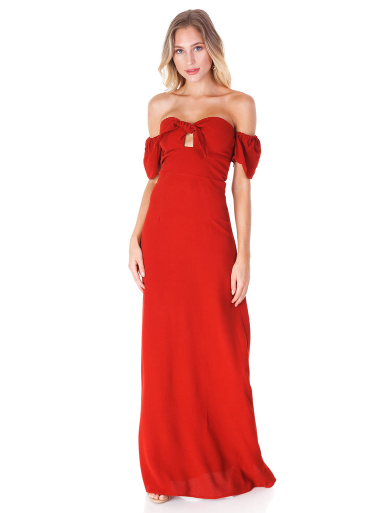 Girl outfit in a dress rental from Flynn Skye called Rachel Strapless Gored Maxi Dress