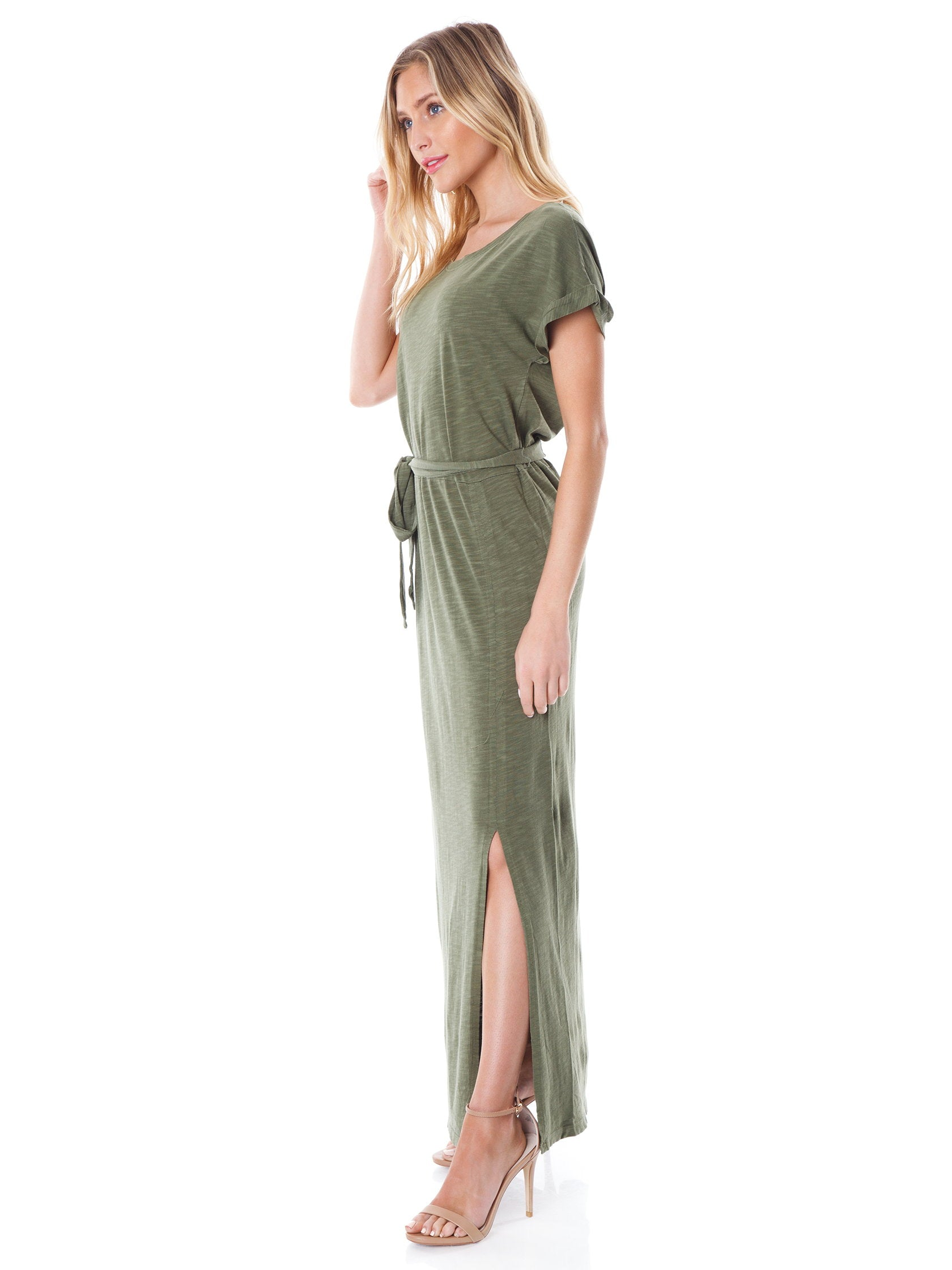 Woman wearing a dress rental from SANCTUARY called Isle T-shirt Maxi Dress