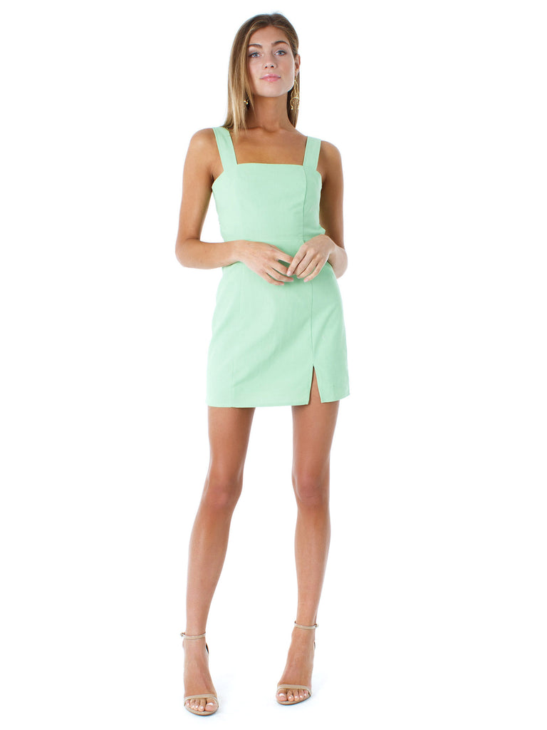 Girl outfit in a dress rental from Charlie Holiday called Ruched Side Dress