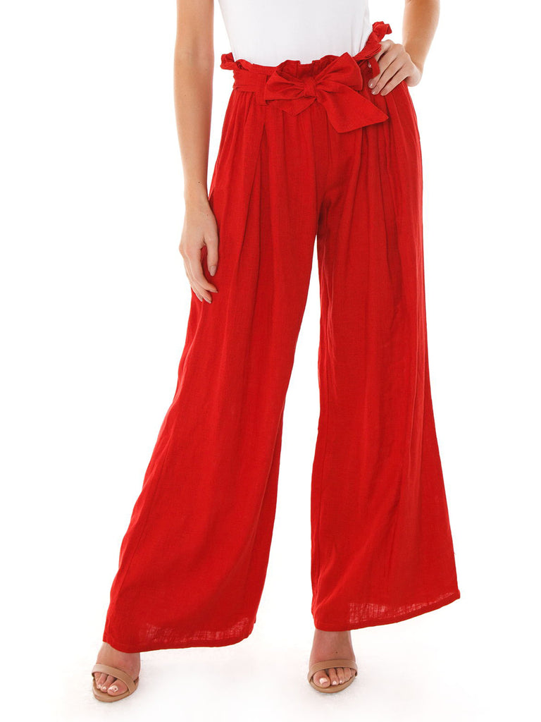 Girl wearing a pants rental from FashionPass called Campbell High Slit Pants