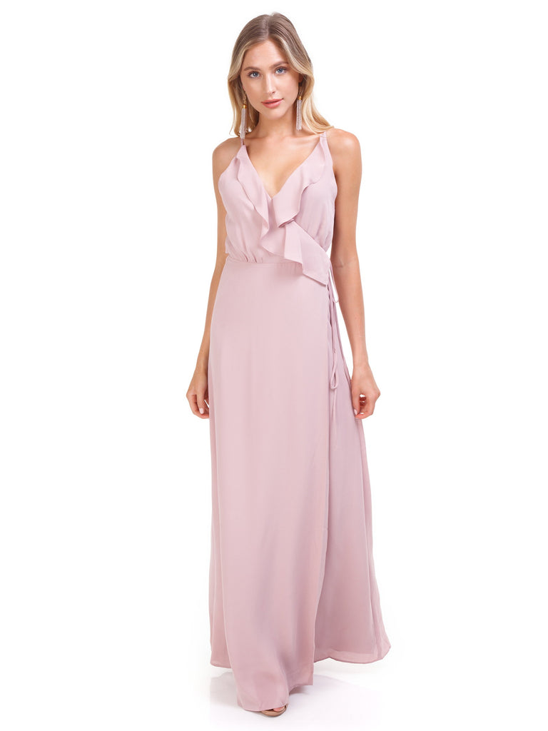 Women outfit in a dress rental from WAYF called Gwyneth Ruffle Maxi Dress