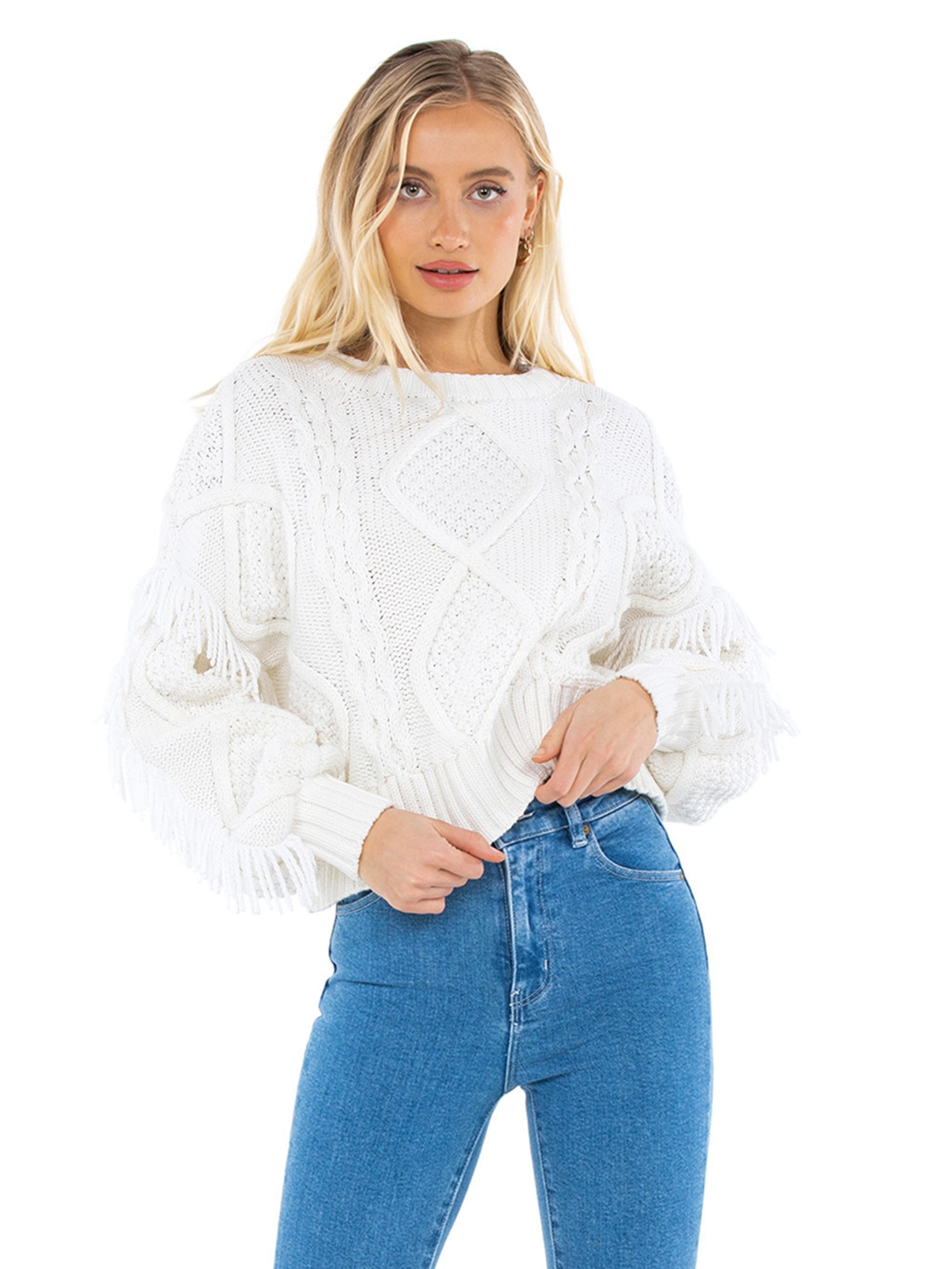 Girl outfit in a sweater rental from Line & Dot called Jasper Fringe Sweater