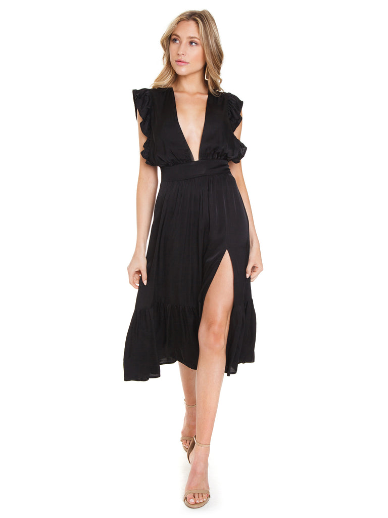 Women outfit in a dress rental from STILLWATER called Eliza Mini Wrap Dress