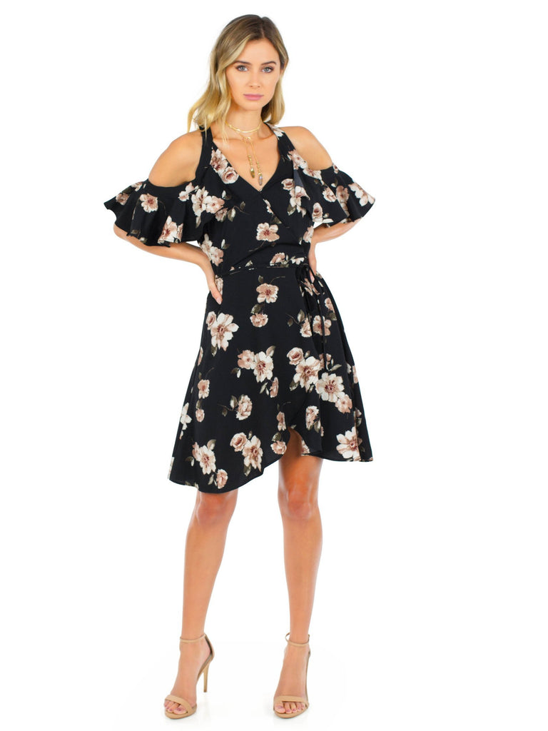 Women outfit in a dress rental from J.O.A. called Ruffle Cold Shoulder Dress