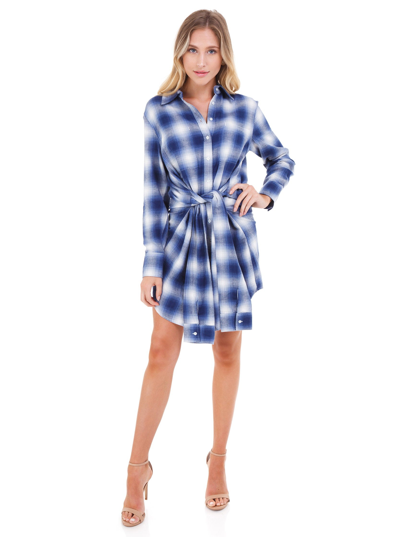Girl outfit in a dress rental from PISTOLA called Joan Sleeve Tie Shirt Dress