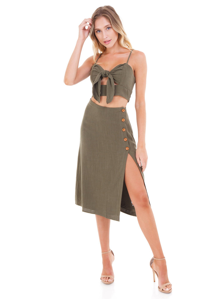 Girl outfit in a two piece rental from FashionPass called Scrunched Up Off Shoulder Bikini Top