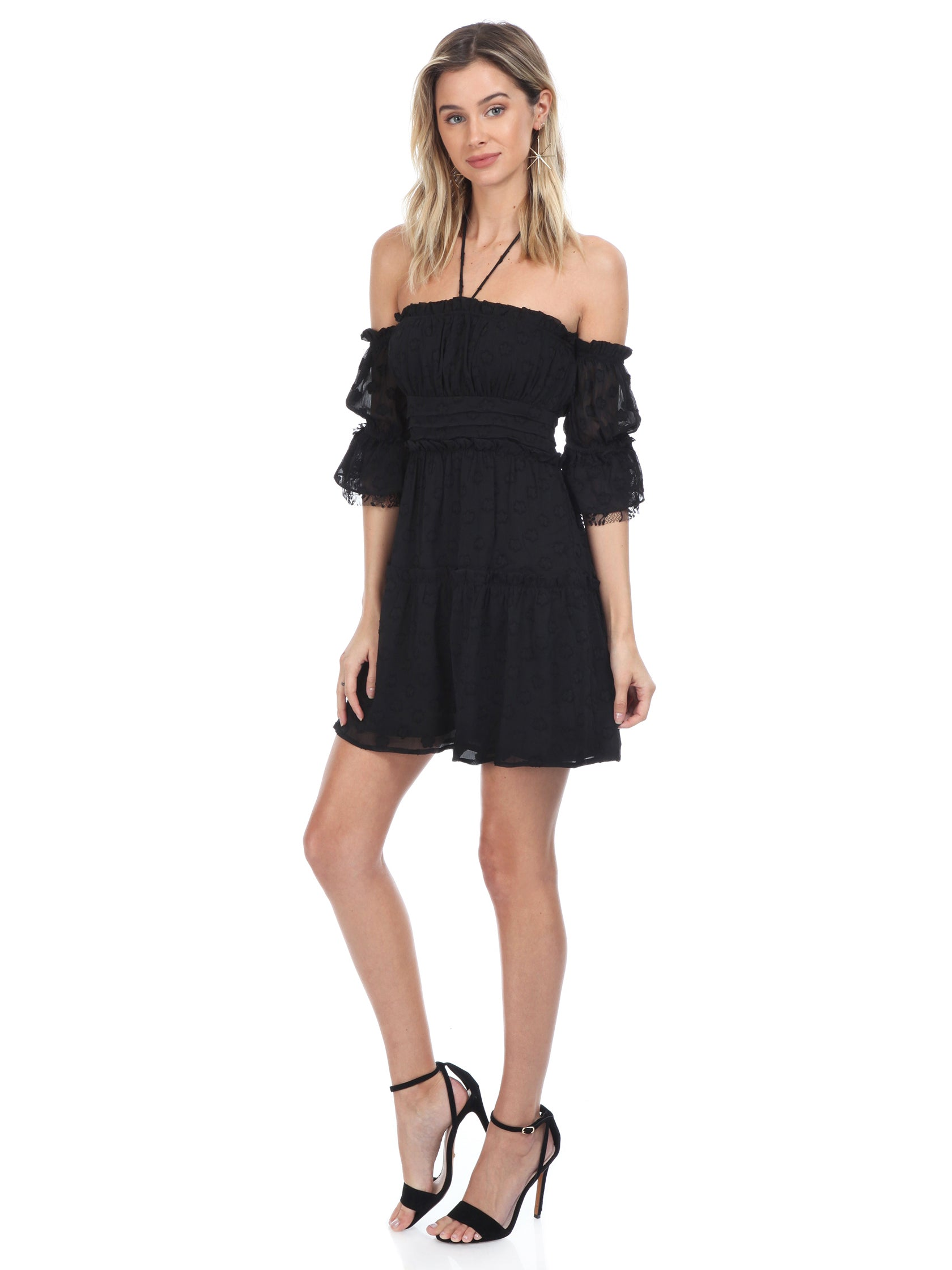 Woman wearing a dress rental from FashionPass called Jordan Ruffle Mini Dress