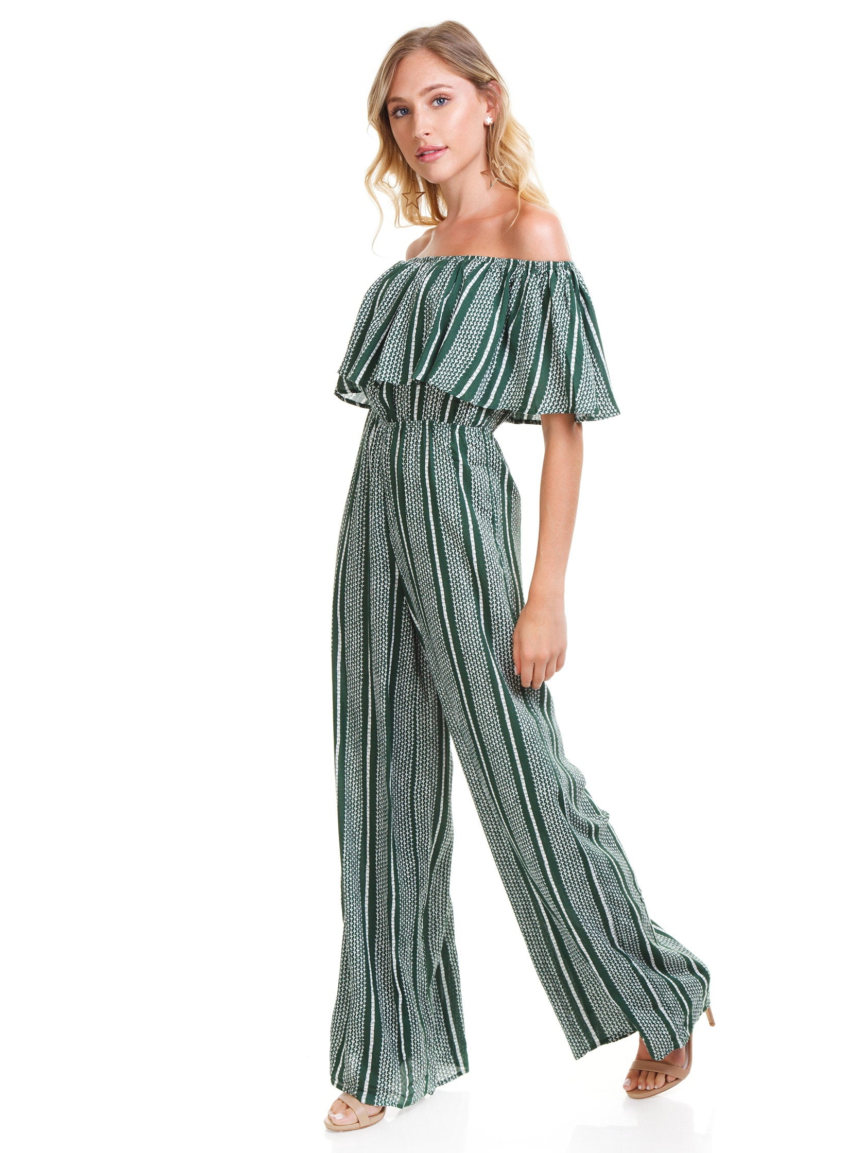 Woman wearing a jumpsuit rental from SAGE THE LABEL called Josephine Jumpsuit