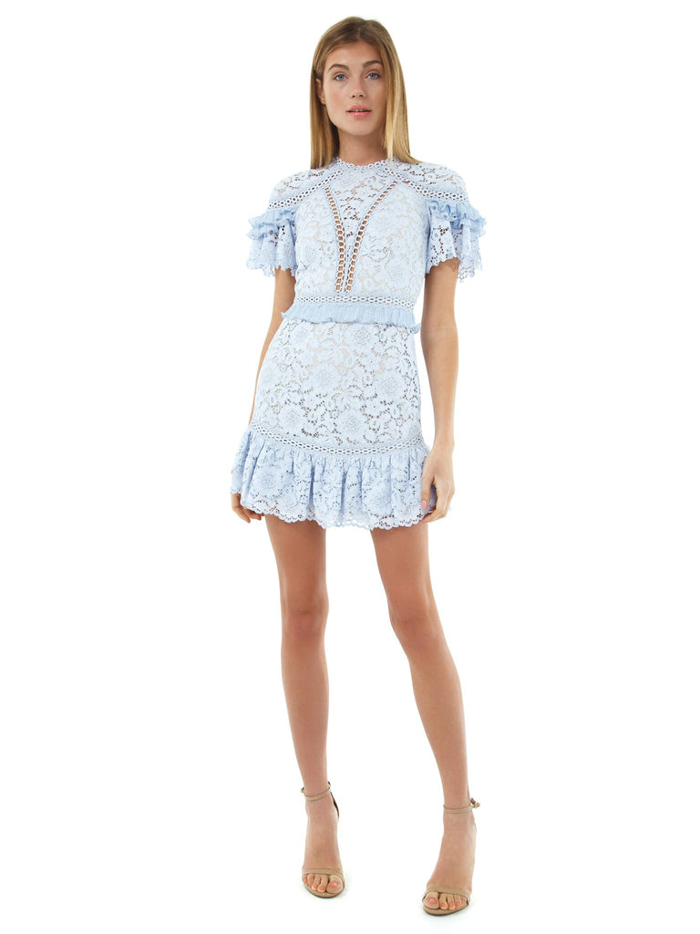 Women outfit in a dress rental from Saylor called Laurel Mini Dress