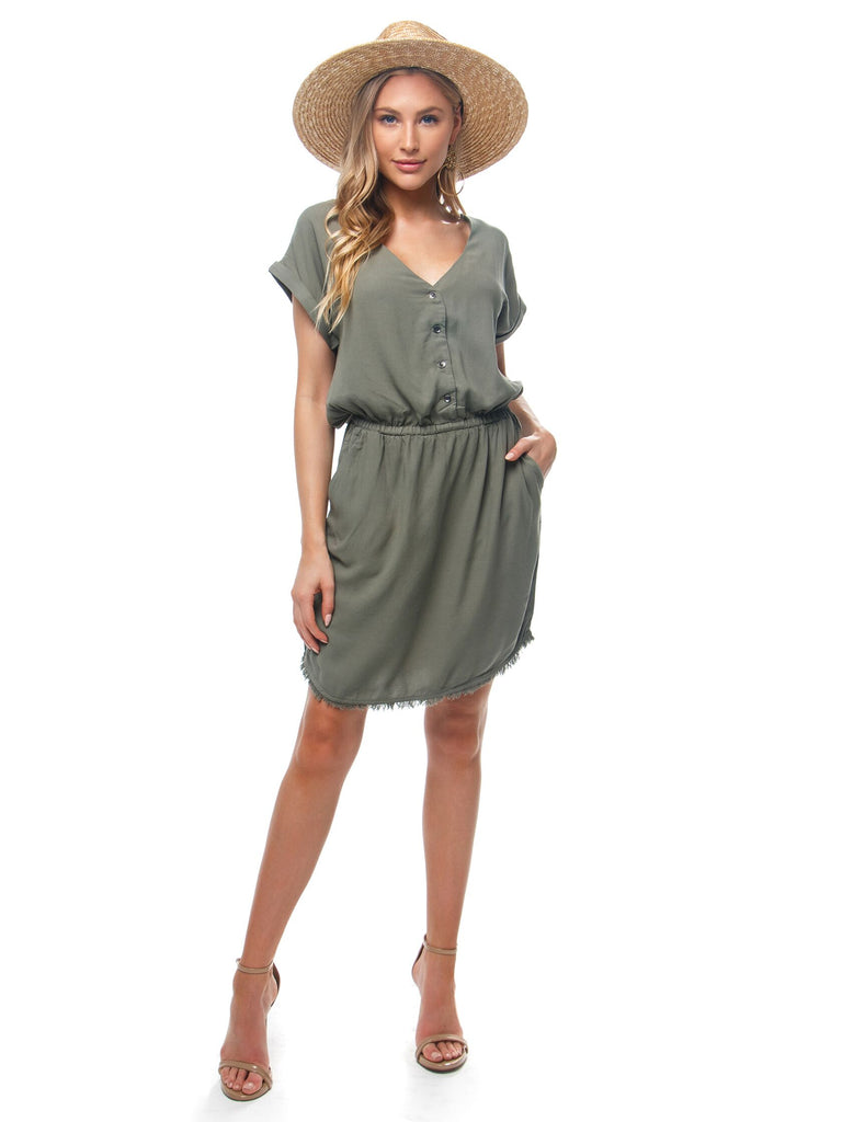 Women outfit in a dress rental from Splendid called Aranciata Mini Dress