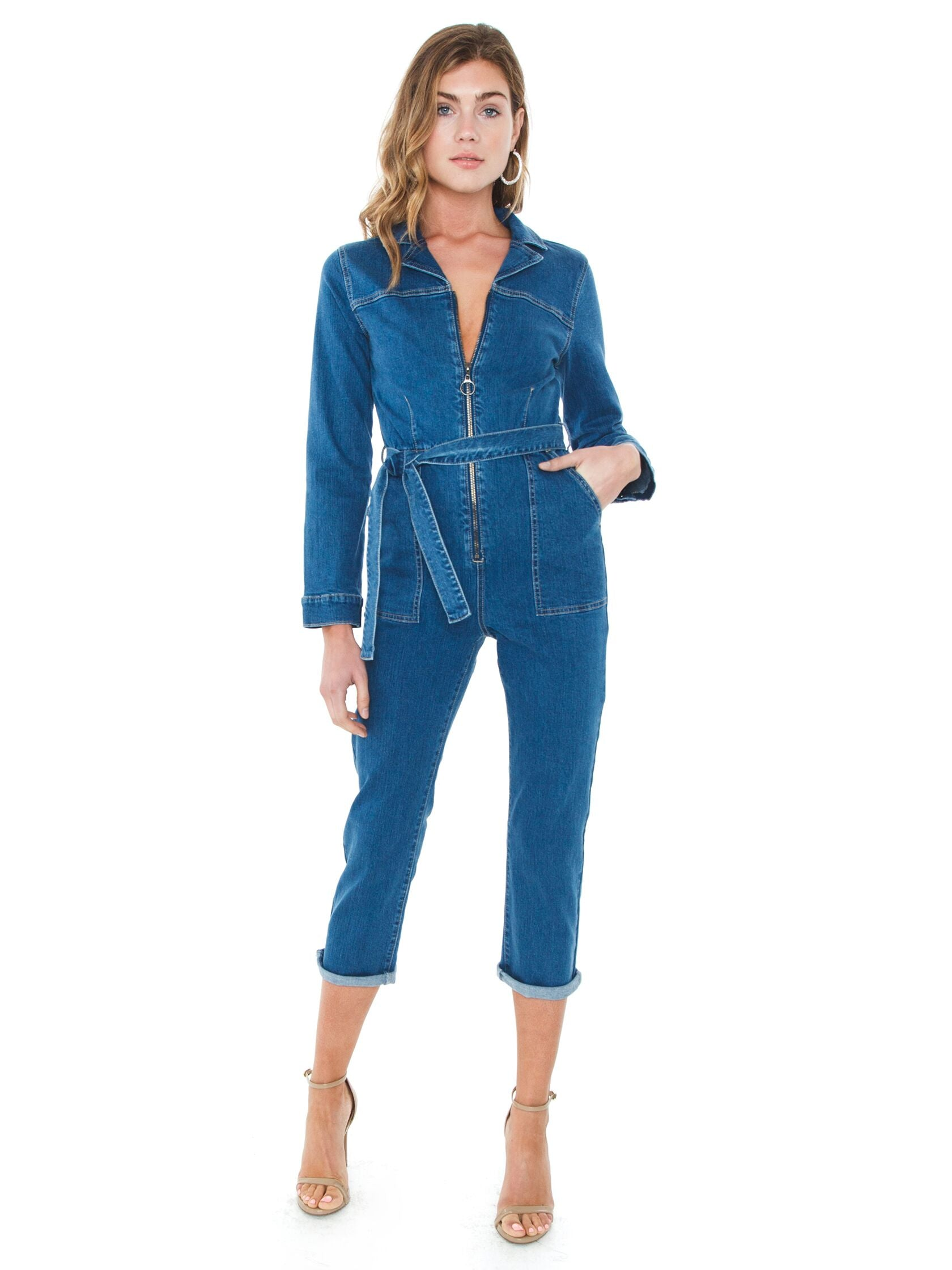 Girl outfit in a jumpsuit rental from MINKPINK called Keeping Time Boiler Suit