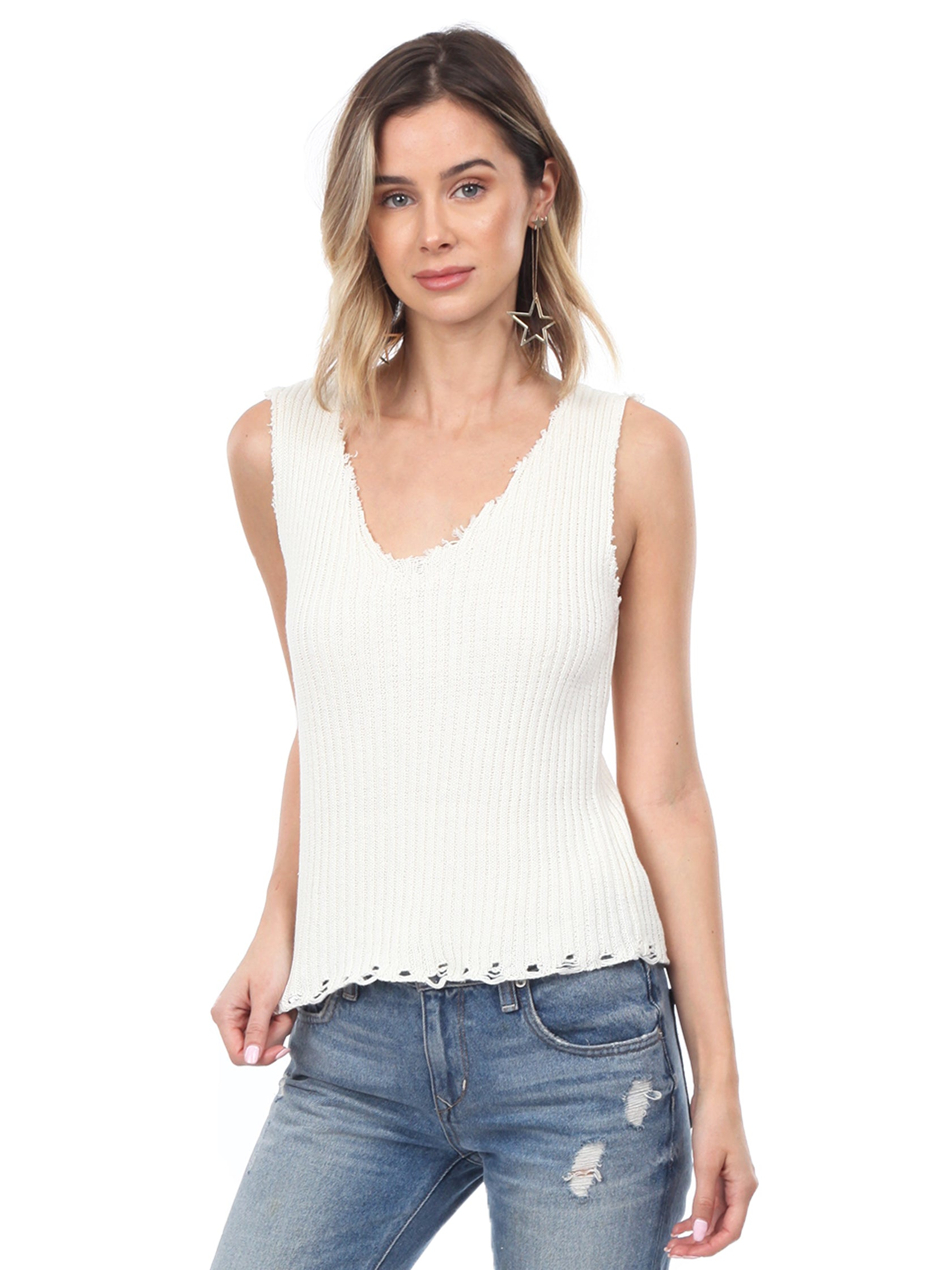 Woman wearing a top rental from Moon River called Knit Sleeveless Sweater Top