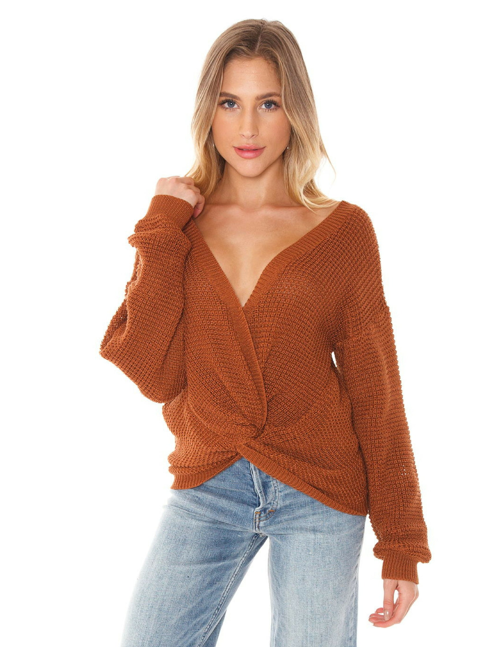 Woman wearing a sweater rental from FASHIONPASS called Kylie Twist Front Sweater