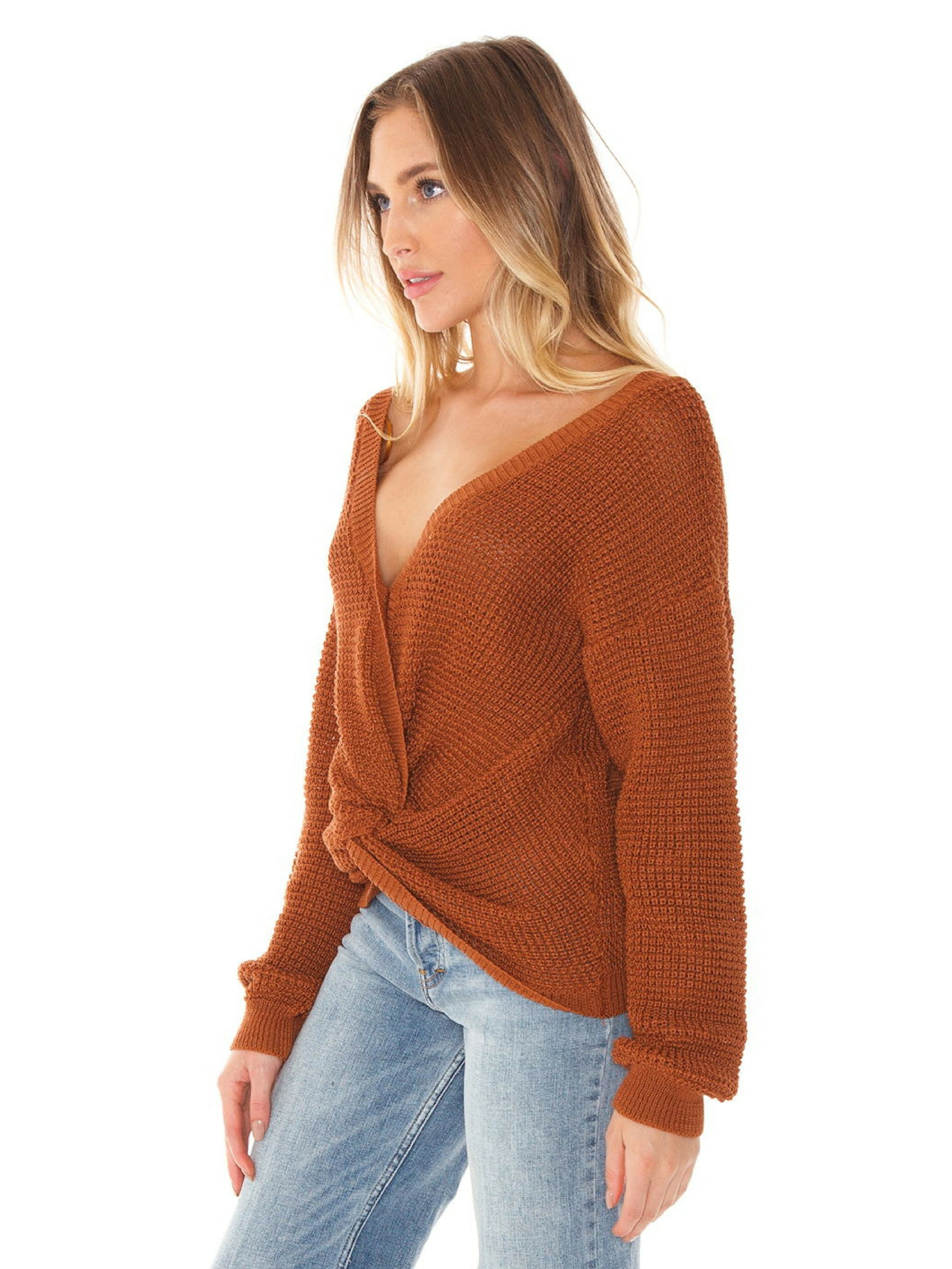 Women wearing a sweater rental from FASHIONPASS called Kylie Twist Front Sweater